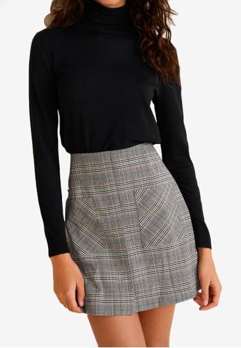 Mango grey Pocket Checked Skirt 1A760AA639BAFEGS_1
