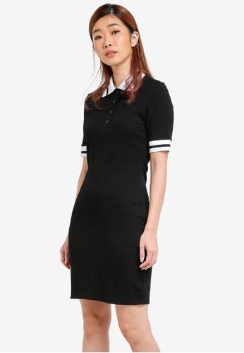 ZALORA black Rib Polo Dress 750A8AAED7C60FGS_1
