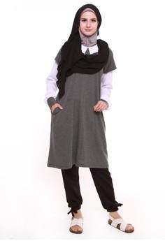 harga Zakai Tape Shirt Tunic Dark Gray - White Zalora.co.id