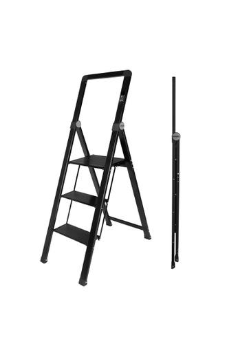 HOUZE black HOUZE - 'SLIM' Aluminium 3 Tier Ladder A53FAHLEC661D0GS_1