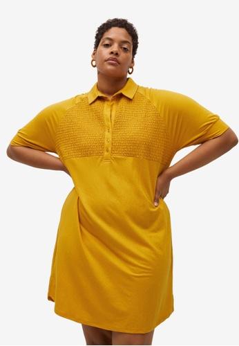 Violeta by MANGO yellow Plus Size Smocked Shirt Dress 1EBE6AAD20F3EBGS_1