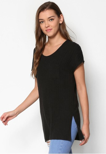 羅紋長版短袖T-shirt、 服飾、 上衣TOPSHOP羅紋長版短袖上衣最新折價