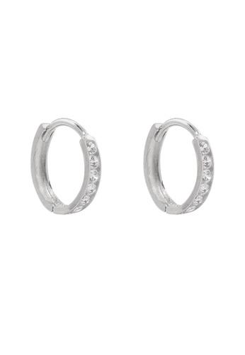 Studdedheartz Silver Paved CZ Minimal Huggie Mini Hoop Earrings F27FDAC5652D28GS_1