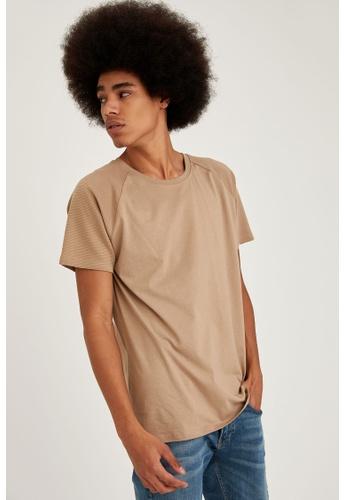 DeFacto brown Short Sleeve Round Neck Basic T-Shirt ADE7FAA6E98A47GS_1