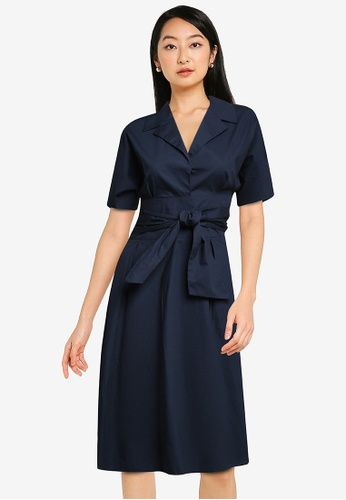 ZALORA BASICS navy Belt Detail Shirt Dress F2D56AA4DF215DGS_1