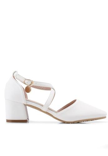 Twenty Eight Shoes white Cross Strap Mid Heel 546-151 40311SH2D83CFFGS_1