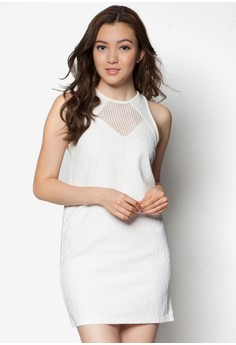 Mesh Panel Fit And Flare Dress