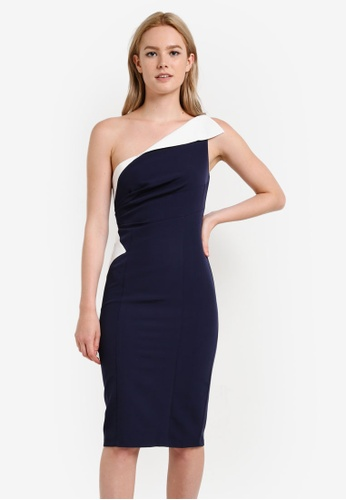 Preen & Proper navy Colour Block Midi Dress PR614AA42YQVMY_1