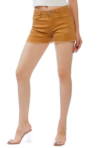 London Rag brown Tan Raw Hem Denim Shorts D5AD8AA19DB666GS_1