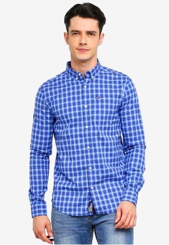 Superdry 藍色 格紋牛津襯衫 85F46AA200F97CGS_1