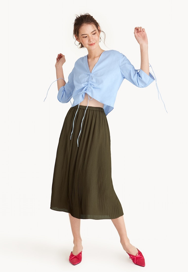 Pomelo Olive A Midi Line Olive Skirt Pleated rHwrPnaC