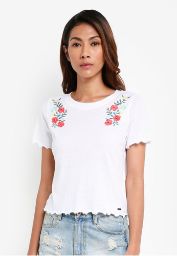 Hollister white Embroidery Lettuce Tee BAB80AA980681AGS_1