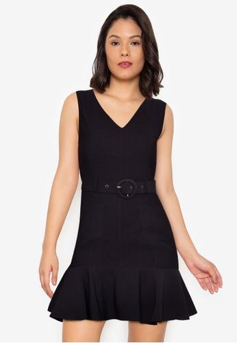 ZALORA WORK black Belted Mermaid Dress 6FFDDAA3CDCF96GS_1