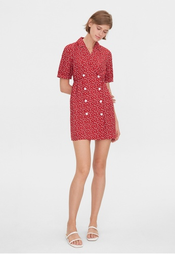 Pomelo red Double Breasted Heart Print Dress - Red 47028AAC37133BGS_1