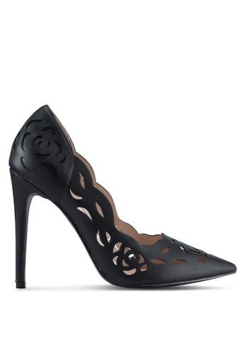 Velvet black Lace Detail Heels 5206FSH8F355FDGS_1