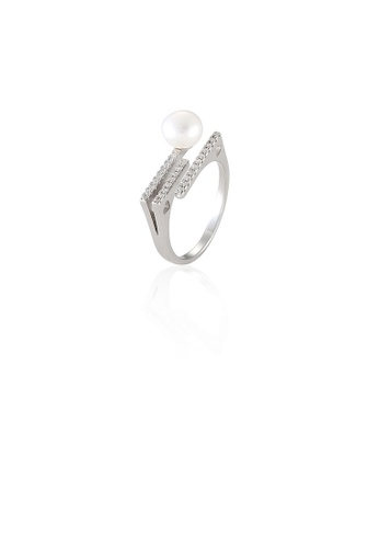 Glamorousky white 925 Sterling Silver Simple Temperament Geometric Rhombus White Freshwater Pearl Adjustable Opening Ring with Cubic Zirconia AF9D0AC51F83FBGS_1