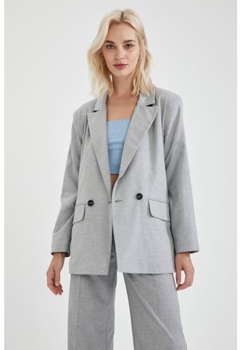 DeFacto grey Oversize Blazer B8C4AAA6DD97C4GS_1