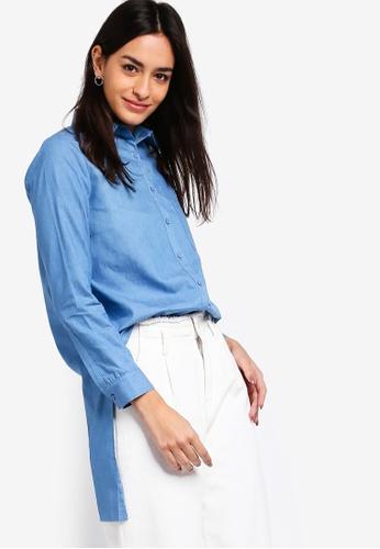 ZALORA blue Oversized Long Line Shirt B394EAABA26E14GS_1