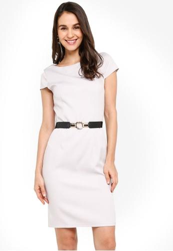 ZALORA grey Cap Sleeve Fitted Dress 85E68AA6FD9DC3GS_1
