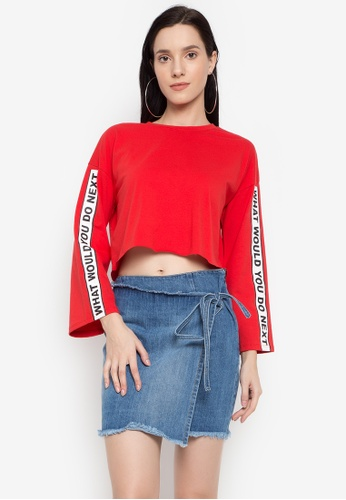 NEXT red Printed Crop Top AD262AA9F665D0GS_1