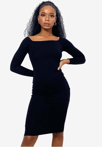 MISSGUIDED black Basic Bardot Midi Dress C7182AA5348F70GS_1