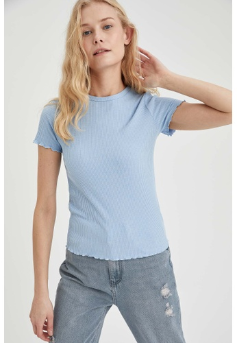 DeFacto blue Woman Knitted Short Sleeve T-Shirt 7D4F5AA00F6D72GS_1