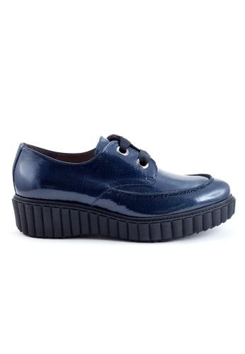 Shu Talk 藍色 舒適型格綁帶漆皮樂福牛皮皮鞋 SH544SH09MT8TW_1