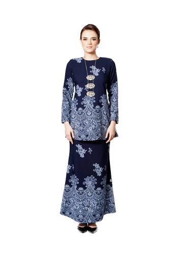 LARA NOUR blue Baju Kurung Lace Printed 8065AAA4190931GS_1