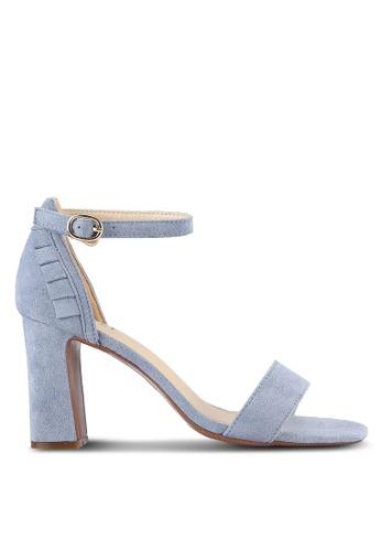 Velvet blue Frill Block Heels 917BDSH0283F55GS_1