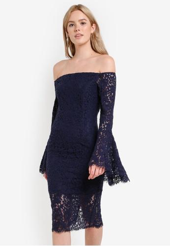Bardot navy Solange Lace Dress BA332AA37GQSMY_1