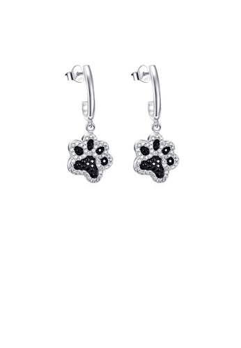 Glamorousky black 925 Sterling Silver Simple Cute Dog Paw Earrings with Cubic Zirconia E64F1AC1CF4D37GS_1