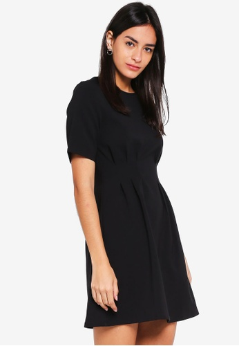 MDSCollections black Pleated Boxy Dress In Black 94A1CAAF841278GS_1