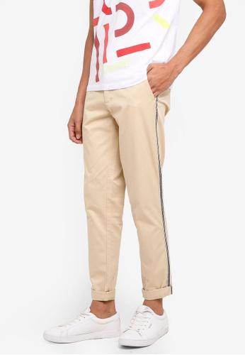 ESPRIT 米褐色 休閒條紋滾邊長褲 CCEDBAAEEEE827GS_1