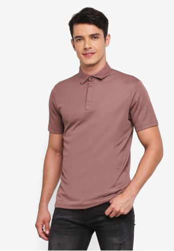 Burton Menswear London pink Pink Taupe Woven Collar Smart Polo Shirt E4F60AAD329796GS_1