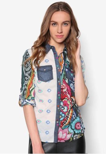 esprit官網彩色印花長袖襯衫, 服飾, 服飾