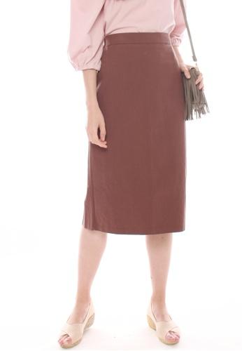 JOVET brown Midi Skirt 2A07EAA71A53E1GS_1
