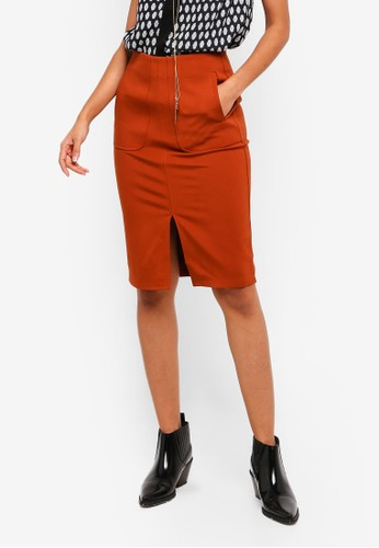 Hopeshow brown Knee Length Skirt With Front Slit CBD4BAAD528F52GS_1