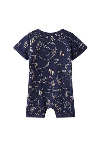 Little Kooma blue Baby Boy Dark Blue w Elephants Romper 35074KAC5B5AACGS_1