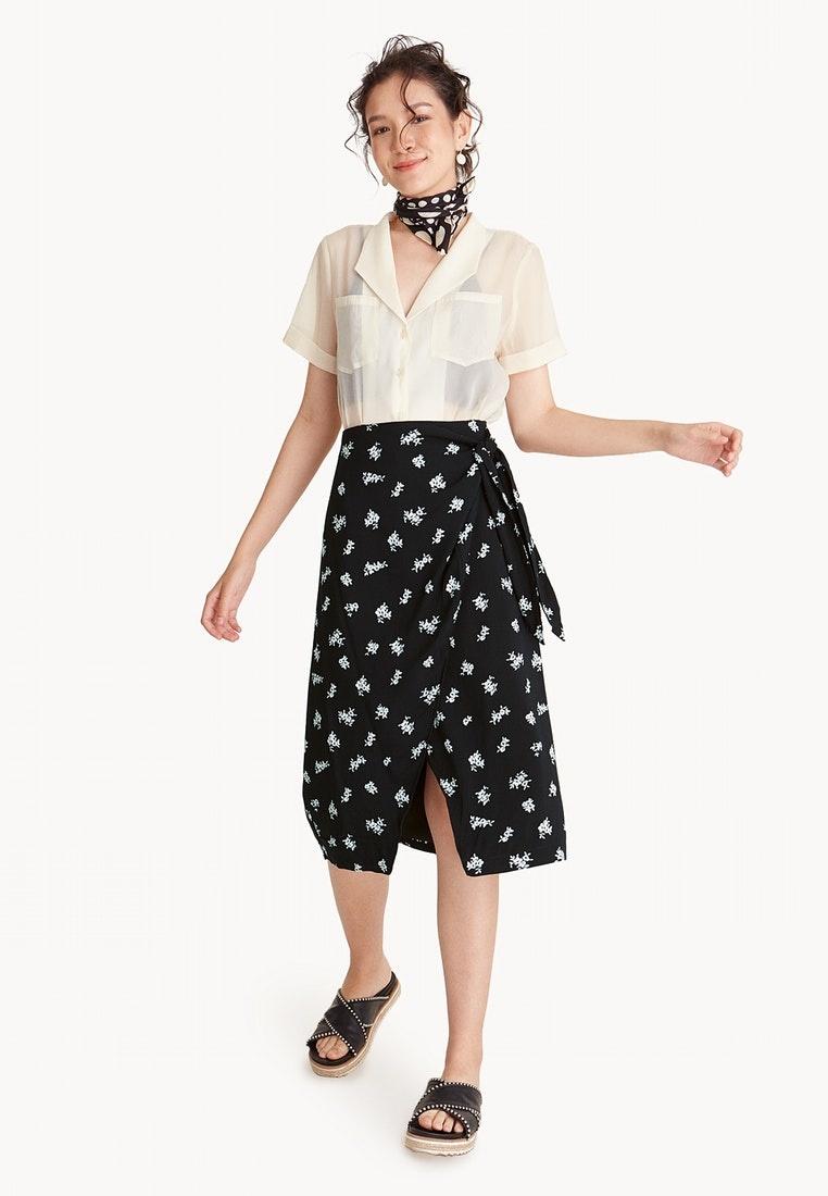 Black Waist Tie Wrapped Skirt Pomelo 7YnIqW55