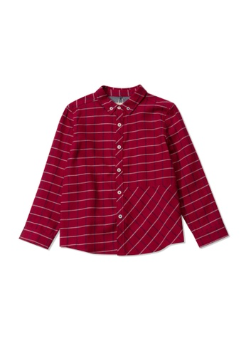 PONEY red Poney Kid Wesley Red Checkered Long Sleeve Shirt 75461KAF76062EGS_1