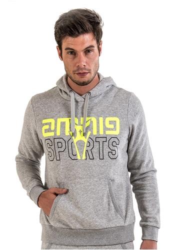 AMNIG grey Amnig Sports Pullover Hoodie (Light Grey) AM133SE02BRLMY_1