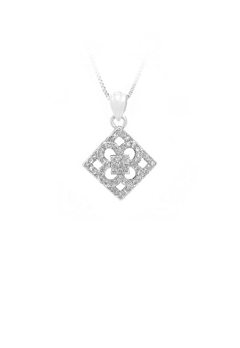 Glamorousky silver 925 Sterling Silver Geometric Shapes Pendant with White Cubic Zircon and Necklace 5AF21AC8A3AC77GS_1