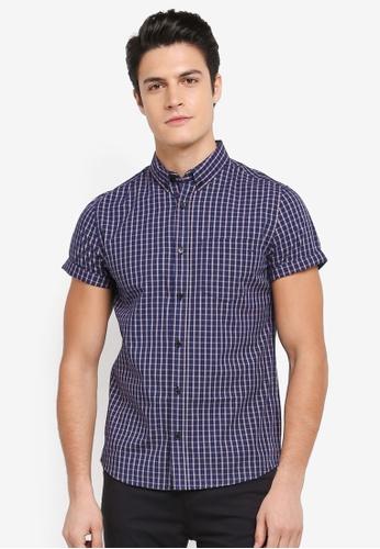 Burton Menswear London 海軍藍色 短袖格紋襯衫 E2BF8AAA55BBB4GS_1