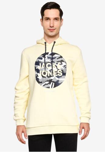 Jack & Jones yellow and beige Prime Sweat Hoodie 48C01AA44A96C3GS_1