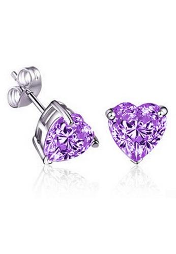 YOUNIQ silver YOUNIQ Heart CZ 925 Sterling Silver Earrings (Purple) YO999AC65NOSMY_1