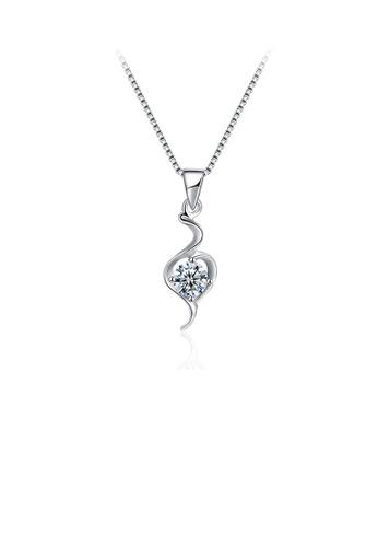 Glamorousky white 925 Sterling Silver Simple Fashion Elegant Hollow Out  Water Drop Shape Cubic Zircon Pendant Necklace F26ECACFFEF97DGS_1