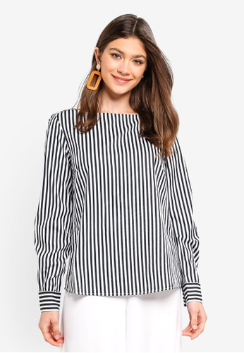 Pieces black and white Ilora Long Sleeve Top 56B9FAA8B03AE7GS_1