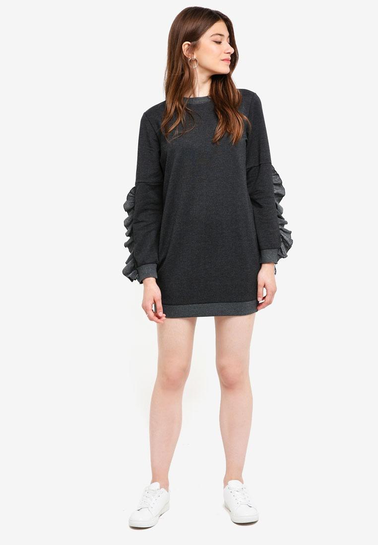 Grey Dress Borrowed Dark Raw Sweater Something Edge qBpnpEgvY