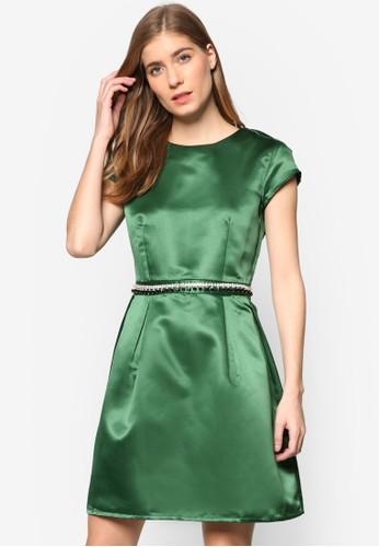 Daniezalora 評價lle 仿鑽腰飾蓋袖連身裙, 服飾, 短洋裝