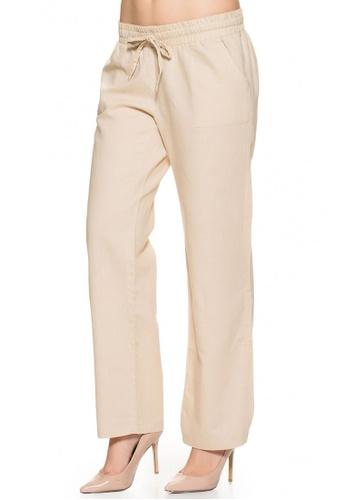 Mayarya beige Under Belly Linen Maternity Pants 9107EAA00F0BCDGS_1
